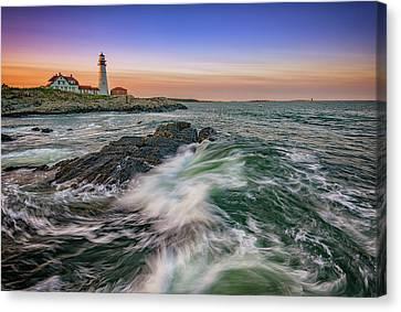 Rocky Maine Coast Canvas Print - Golden Hour At Portland Head Light by Rick Berk