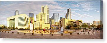 Golden Hour Panorama Of Downtown Dallas Skyline From City Hall - North Texas Canvas Print by Silvio Ligutti