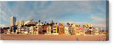 Golden Hour Panorama Of Santa Monica Condos And Bungalows - Los Angeles California Canvas Print