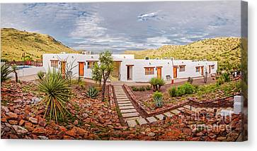 Golden Hour Panorama Of The Indian Lodge At Davis Mountains State Park - Fort Davis West Texas Canvas Print