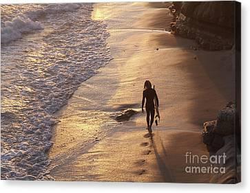 Canvas Print - Golden Hour Swamis Beach Encinitas California by Linda Queally