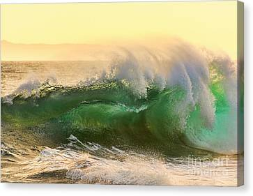 Canvas Print featuring the photograph Golden Hour Waves by Eddie Yerkish