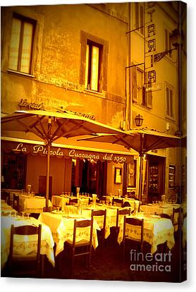 Golden Italian Cafe Canvas Print by Carol Groenen