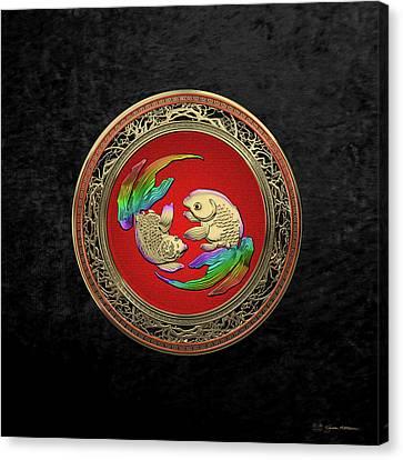 Golden Japanese Koi Goldfish Over Black Velvet Canvas Print