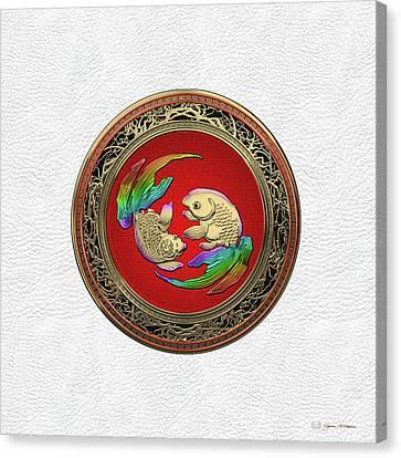 Golden Japanese Koi Goldfish Over White Leather Canvas Print
