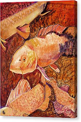 Mix Medium Canvas Print - Golden Koi by Pat Saunders-White
