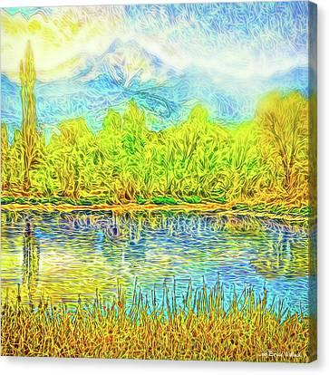 Golden Lake Reflections Canvas Print