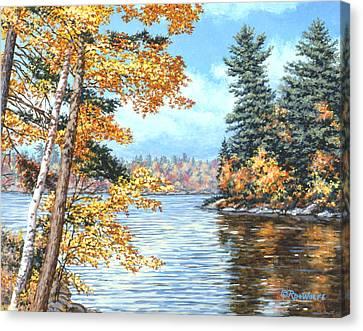 Golden Lake Canvas Print by Richard De Wolfe