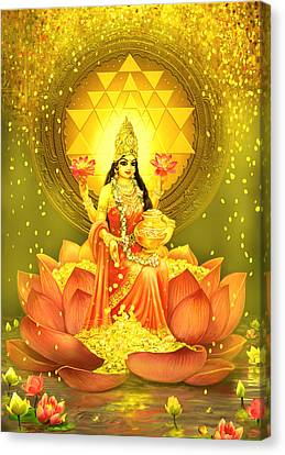 Durga Canvas Print - Golden Lakshmi by Lila Shravani