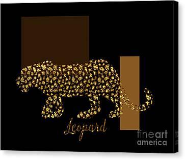 Golden Leopard Modern Gilt Wild Cat, Gold Black Brown Canvas Print by Tina Lavoie