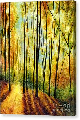 Bare Trees Canvas Print - Golden Light by Hailey E Herrera