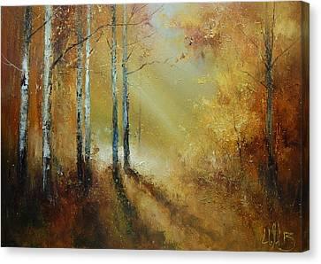 Golden Light In Autumn Woods Canvas Print