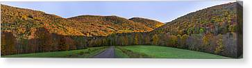 Canvas Print featuring the photograph Golden Light On The Catskills by Mark Papke