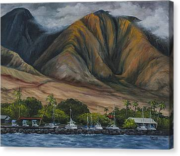 Canvas Print featuring the painting Golden Light West Maui  by Darice Machel McGuire