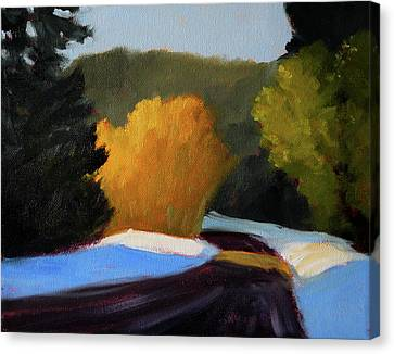 Canvas Print featuring the painting Golden Light Winter Road by Nancy Merkle