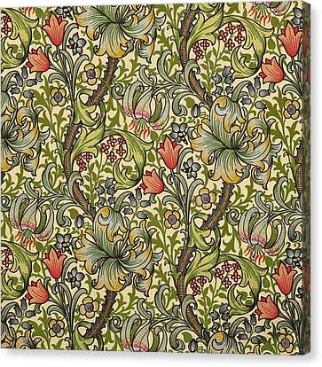 Flower Canvas Print - Golden Lily Pattern by William Morris