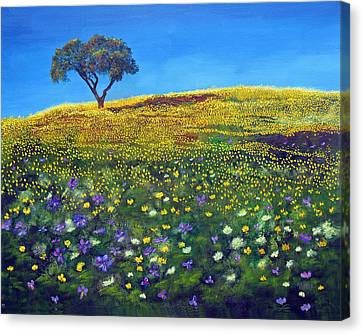 Canvas Print featuring the painting Golden Meadow  by Marina Petro