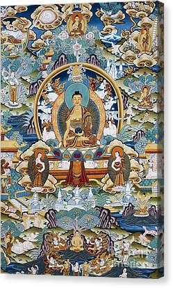 Golden Medicine Buddha Thangka Canvas Print by Tim Gainey