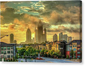 Golden Midtown Towering Over Atlantic Station Art Canvas Print