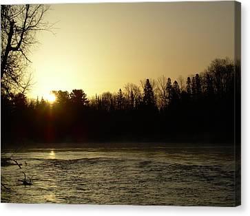 Canvas Print featuring the photograph Golden Mississippi River Sunrise by Kent Lorentzen