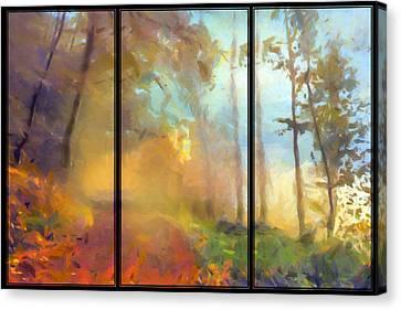 Golden Mist Landscape Canvas Print by Georgiana Romanovna
