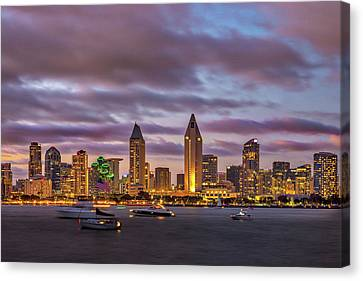 Golden Night In San Diego Canvas Print by Peter Tellone