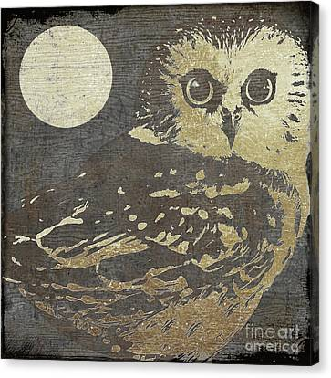 White Birds Canvas Print - Golden Owl by Mindy Sommers