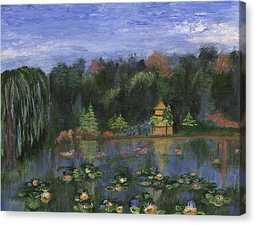 Canvas Print featuring the painting Golden Pagoda by Jamie Frier