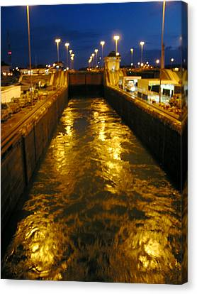 Golden Panama Canal Canvas Print by Phyllis Kaltenbach