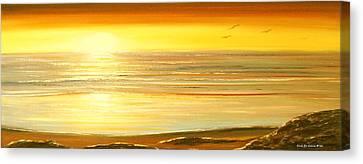 Golden Panoramic Sunset Canvas Print by Gina De Gorna