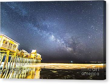 Golden Pier Under The Milky Way Version 1.0 Canvas Print