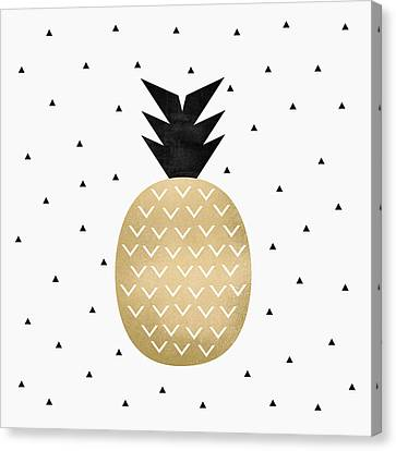 Golden Pineapple Canvas Print by Elisabeth Fredriksson