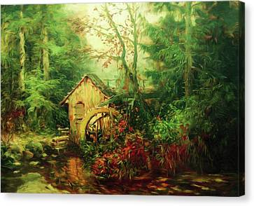 Golden Pond Below The Mill In The Mist Canvas Print by Georgiana Romanovna