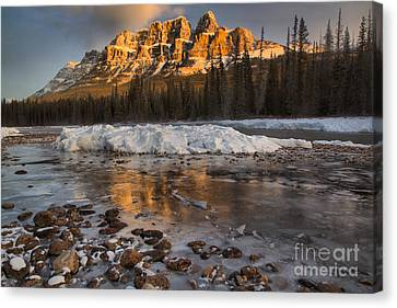 Canvas Print - Golden Reflections By The River Rocks by Adam Jewell