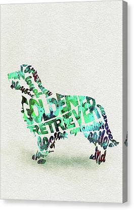 Golden Retriever Dog Watercolor Painting / Typographic Art Canvas Print