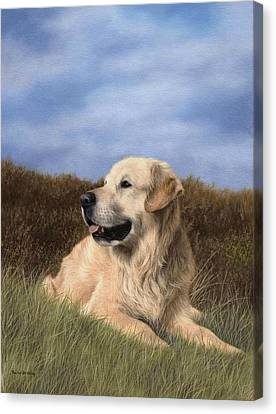 Golden Retriever Painting Canvas Print by Rachel Stribbling
