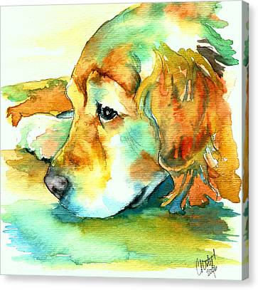 Labradors Canvas Print - Golden Retriever Profile by Christy  Freeman