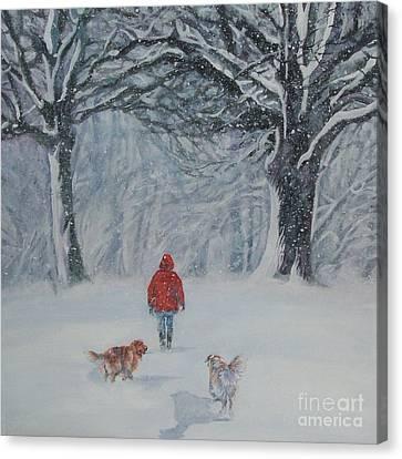 Golden Retriever Winter Walk Canvas Print