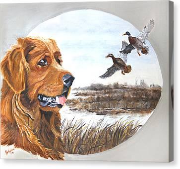 Golden Retriever With Marsh Scene Canvas Print by Johanna Lerwick