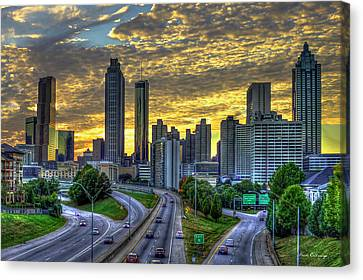 Canvas Print featuring the photograph Golden Skies Atlanta Downtown Sunset Cityscape Art by Reid Callaway
