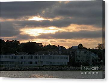 Mystic Setting Canvas Print - Golden Sky Of Plymouth 2 by Gina Sullivan