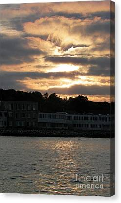 Mystic Setting Canvas Print - Golden Sky Of Plymouth 5 by Gina Sullivan