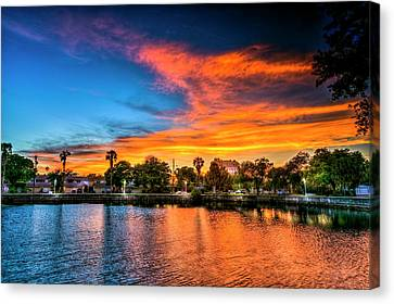 Oak Harbor Canvas Print - Golden Sky Over Davis Island by Marvin Spates
