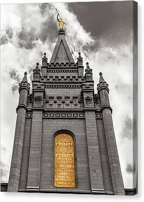 Golden Slc Temple Canvas Print by La Rae  Roberts