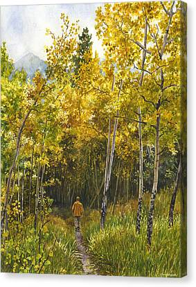 Canvas Print featuring the painting Golden Solitude by Anne Gifford