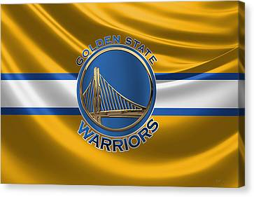 Hall Of Fame Canvas Print - Golden State Warriors - 3 D Badge Over Flag by Serge Averbukh