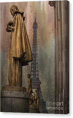 Trocadero Canvas Print - Golden Statues On Trocadero With View Towards Eiffel Tower Paris by Juli Scalzi