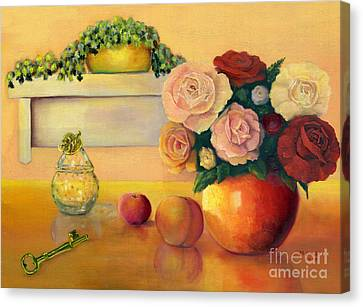 Golden Still Life Canvas Print by Marlene Book