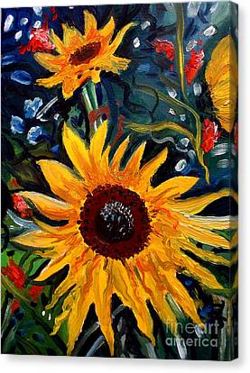 Golden Sunflower Burst Canvas Print