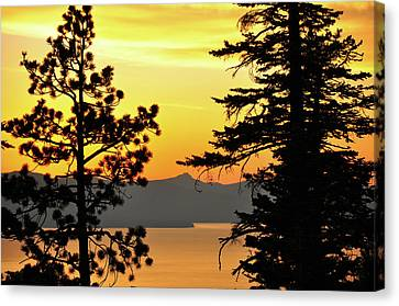 Golden Sunset 2 - Lake Tahoe - Nevada Canvas Print by Bruce Friedman